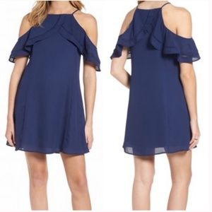 DEE ELLY navy cold shoulder ruffle dress small